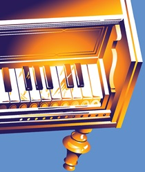 Piano on blue background