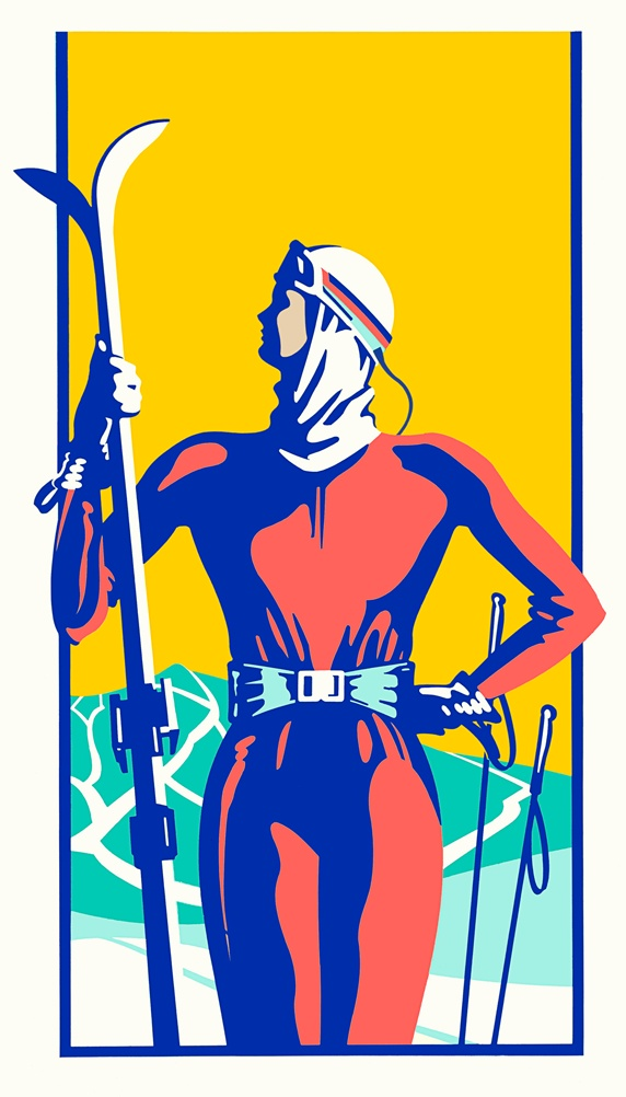 Retro woman holding skis