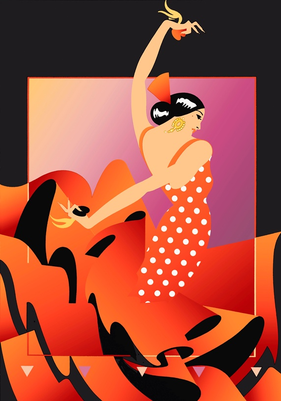 Flamenco dancer in red polka dot dress playing castanets