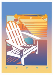 Empty adirondack chair by jetty