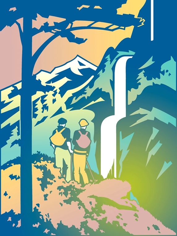 Two hikers watching waterfall
