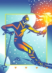 Skier holding flaming torch