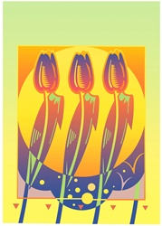 Three tulips against sun on green background