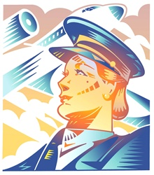 Female pilot and flying plain