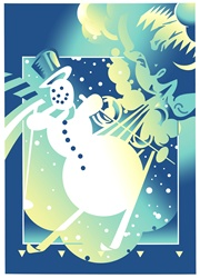 Snowman skiing against blue background