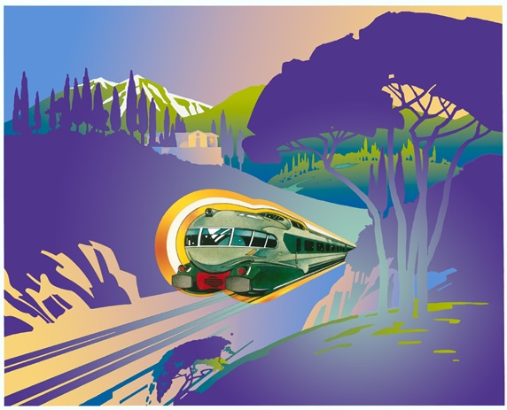 Passenger train with mountain landscape
