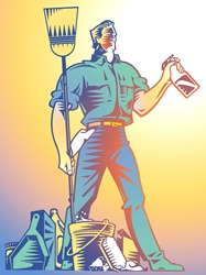 Illustration of male cleaner