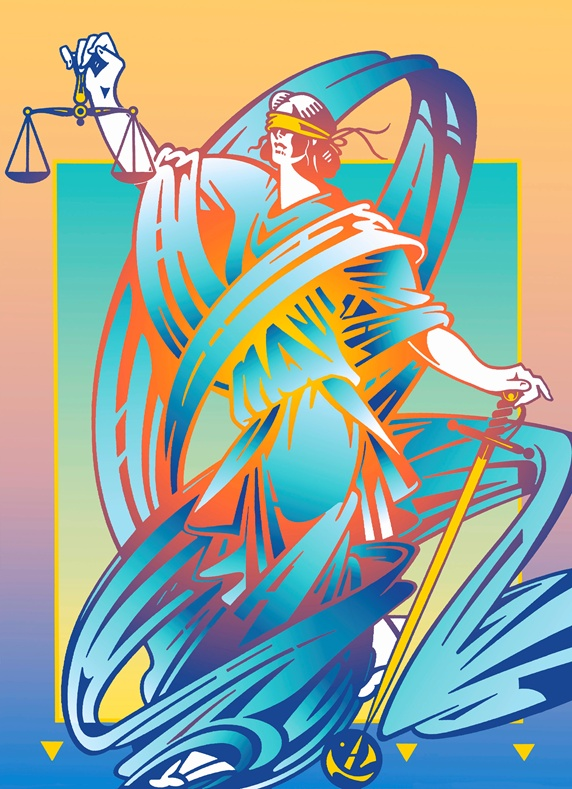 Lady Justice holding scales and sword
