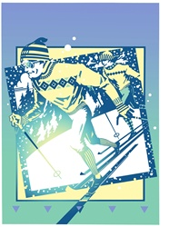 Illustration of men skiing