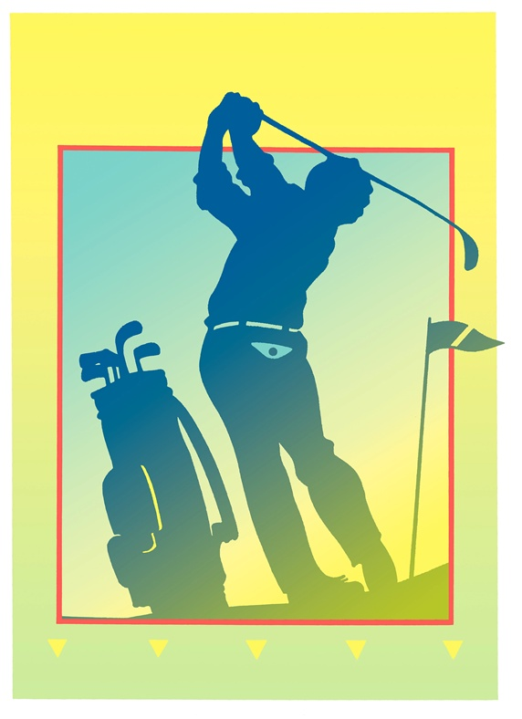 Silhouette of golf player in golf course