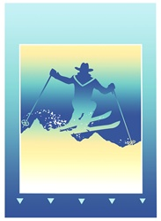 Silhouette of man skiing in mountains