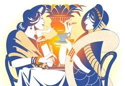 Two women drinking tea