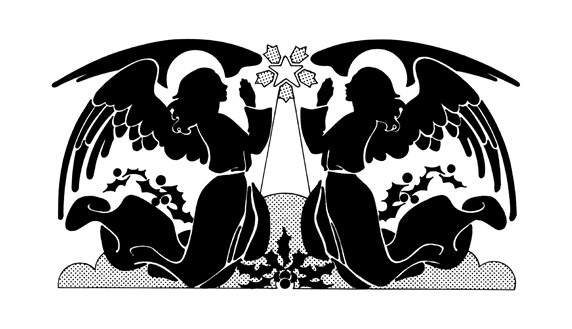 Silhouettes of praying angels