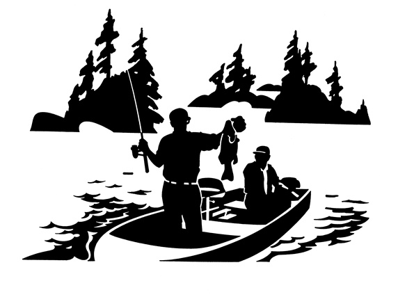 Men fishing in boat on lake