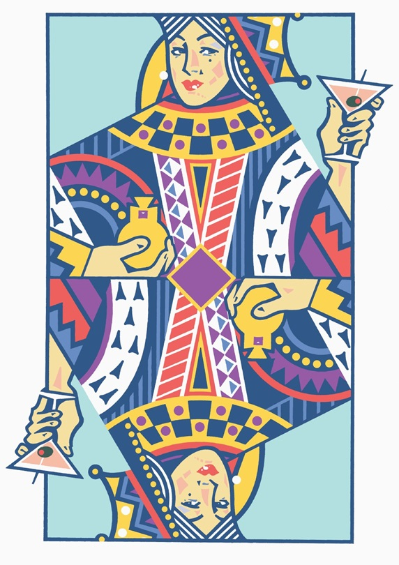 Playing card with queen  holding  martini glass