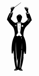 Conductor standing with arms up
