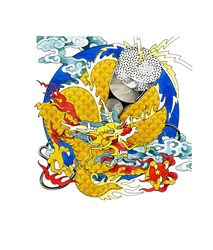 Chinese dragon above globe