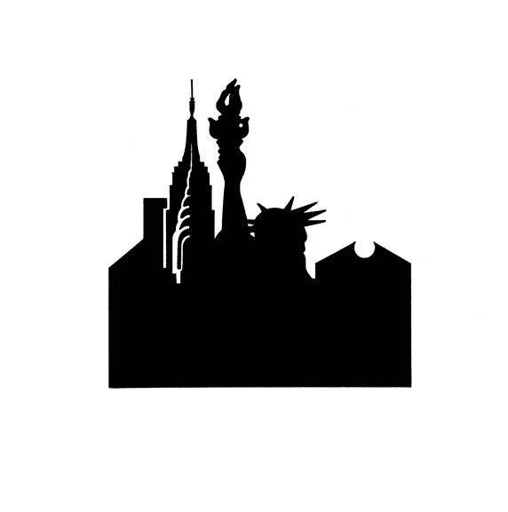 Silhouette of New York city international landmarks