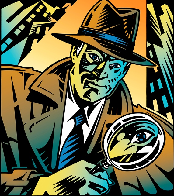 Retro detective looking through magnifying glass in city