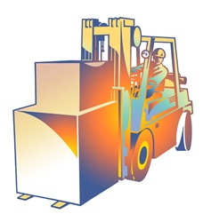 Man working on forklift