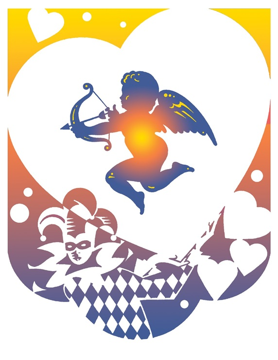 Clown holding heart with cupid