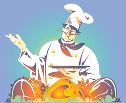 Chef with roasted meat