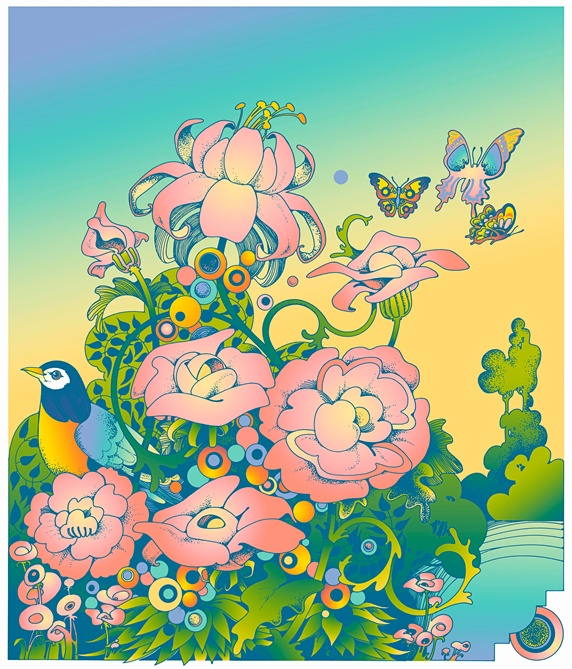 Pastel color flowers with butterflies and bird