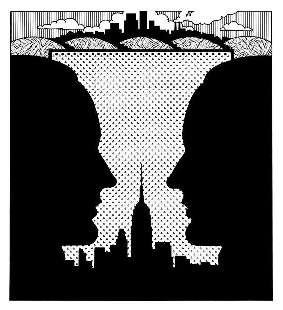 Silhouette of men with skyline in background