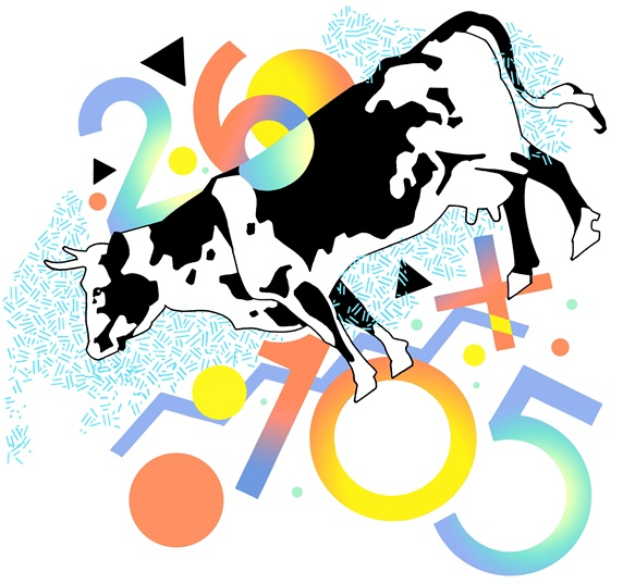 Cow surrounded by multicolored numbers