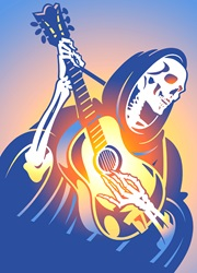 Skeleton playing guitar