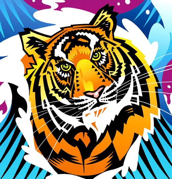 Tiger on colored background