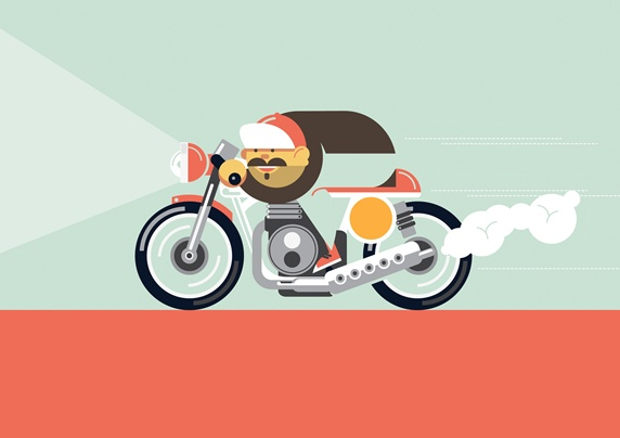 Motorcyclist on move