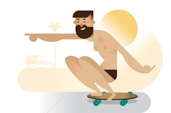 Skateboarder on beach