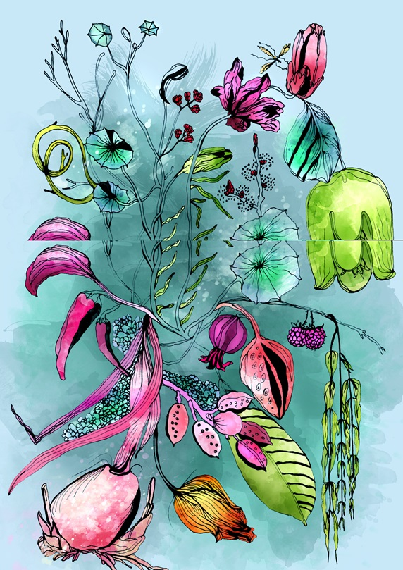 """Variation of multi colored plants on blue background """