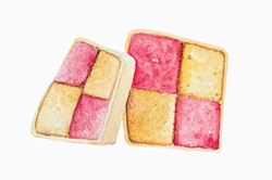 Watercolour painting of slices of battenberg cake