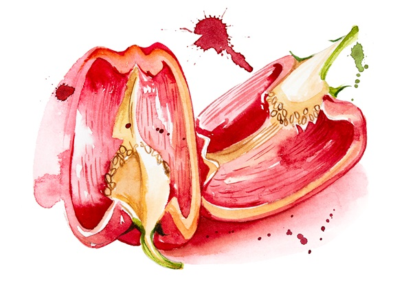 Sliced red peppers on white background