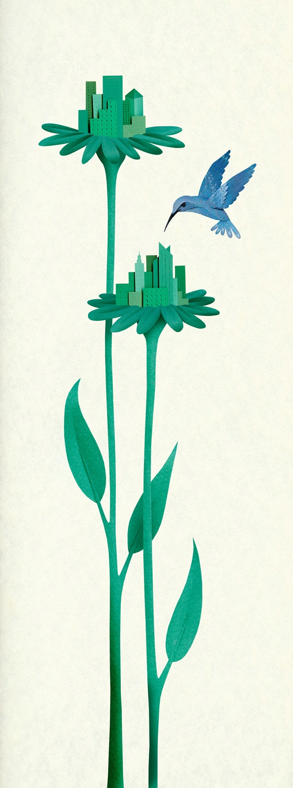 Green city buildings on flower stems with hummingbird