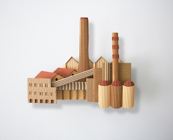 Factory made of corrugated cardboard
