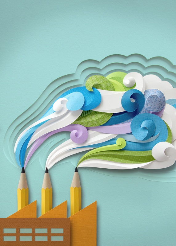 Colorful swirling smoke from pencils as factory chimneys