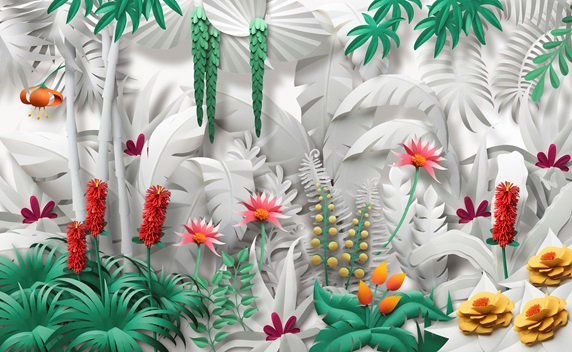 Paper sculpture of lush jungle plants