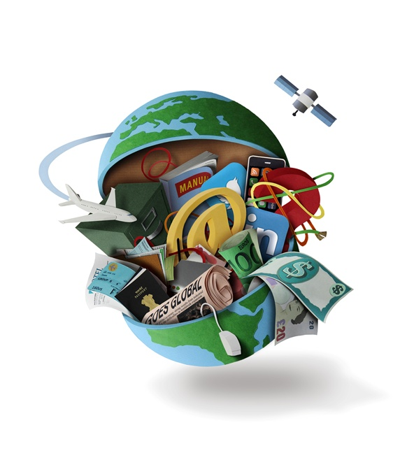 Planet earth with documents and banknotes on white background