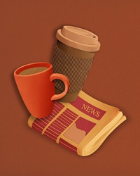 Coffee and tea with newspaper by Gail Armstrong