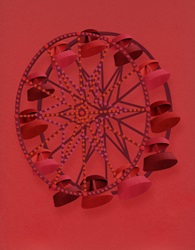 Ferris wheel on red background