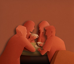 Friends chatting drinking coffee in paper art