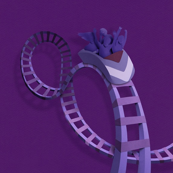 Family on rollercoaster ride in paper art