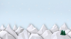 Snowy mountain peaks in paper art