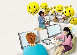 Workers in open space office with yellow emoji emoticons