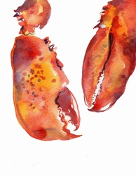 Watercolor painting of two lobster claws