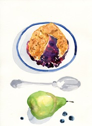 Blueberry pie and pear on white background