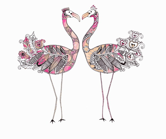 Two flamingos face to face forming heart shape with ornate patterned feathers
